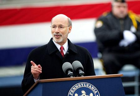 FILE PHOTO: Wolf delivers speech after being sworn in as 47th Governor of Pennsylvania in Harrisburg