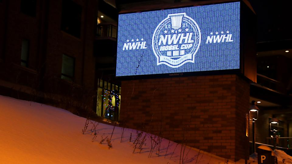 LAKE PLACID, NEW YORK - FEBRUARY 03: A view of NWHL signage outside of Herb Brooks Arena after it was announced that the NWHL suspended its season due to COVID-19 on February 03, 2021 in Lake Placid, New York. (Photo by Maddie Meyer/Getty Images)