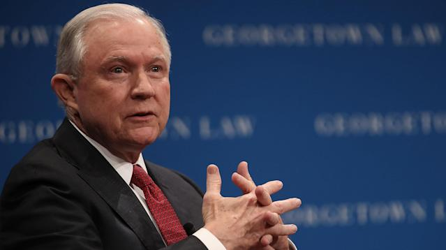 More than 100 Georgetown Law students were barred from Attorney General Jeff Sessions' free speech lecture at the school on Tuesday, even though they had been told they could attend and there were empty seats in the auditorium, a protest organizer said.