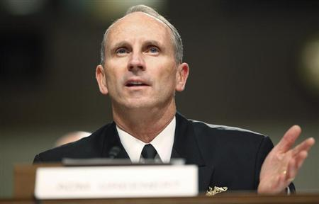 U.S. Chief of Naval Operations Admiral Greenert testifies before a Senate Armed Services Committee hearing on the impact of sequestration on the national defense, on Capitol Hill in Washington