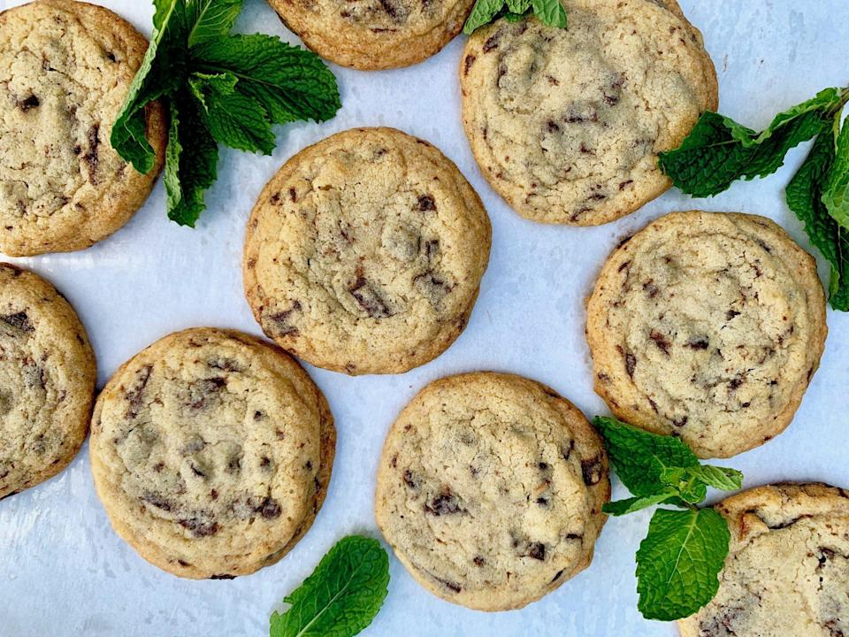 "<p><strong>Recipe: </strong><a href=""http://www.southernliving.com/recipes/mint-chocolate-chip-cookies"" rel=""nofollow noopener"" target=""_blank"" data-ylk=""slk:Mint Chocolate Chip Cookies"" class=""link rapid-noclick-resp""><strong>Mint Chocolate Chip Cookies</strong></a></p> <p>Mint-chocolate lovers will go crazy for this recipe that includes chopped mint dark chocolate for an ultra-decadent spin.</p>"