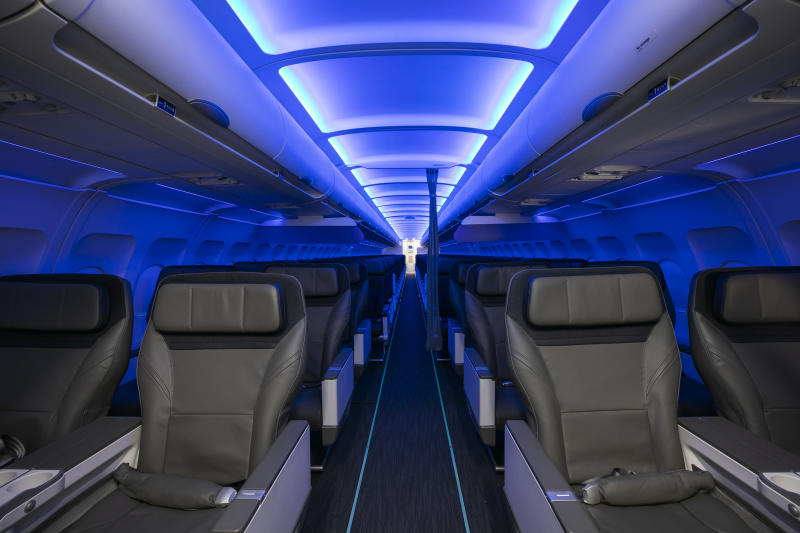 Ambient mood lighting with calming blue hues complements the human body's natural circadian rhythm, promoting rest or productivity depending on the time of day. The curated onboard music program has a cool West Coast vibe that balances the relaxing and modern ambiance.