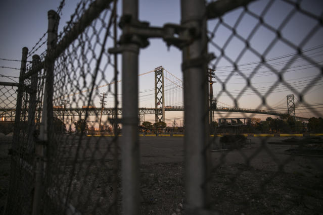 The Ambassador Bridge, which connects Detroit, Michigan to Windsor, Ontario, Canada.
