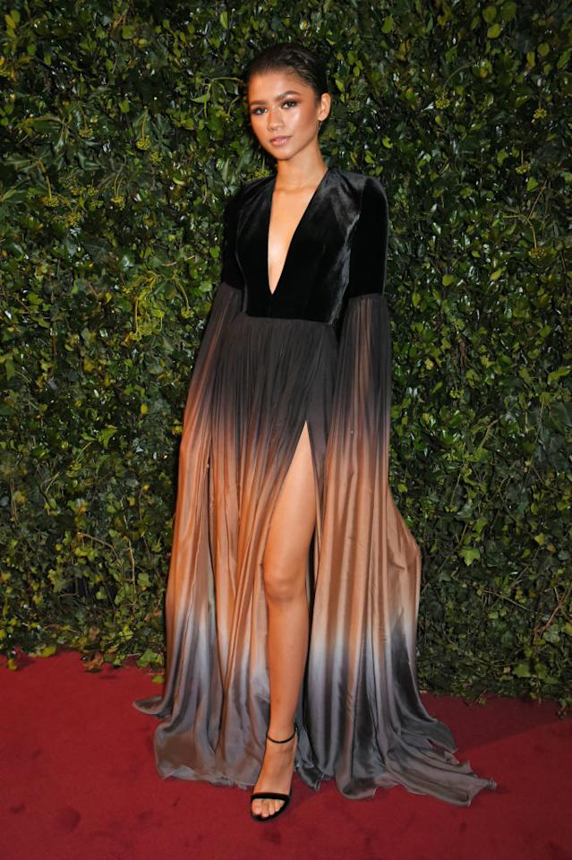 <p>For the London Evening Standard Theatre Awards 2017 at the Theatre Royal, Zendaya chose an ombré gown by Elie Saab. The singer finished the look with Loriblu heels. <em>[Photo: Getty]</em> </p>