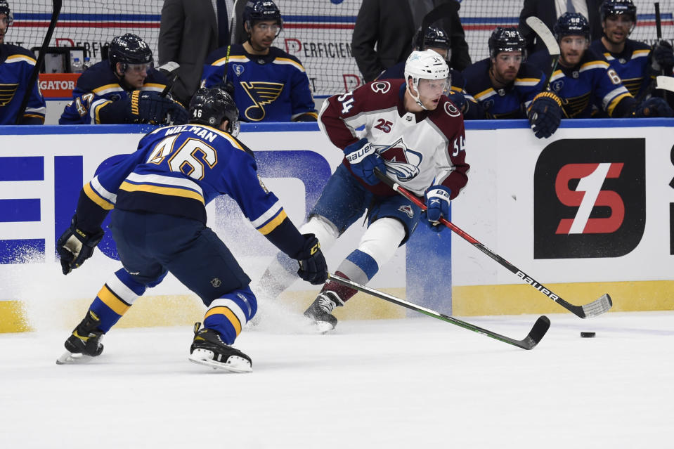 St. Louis Blues' Jake Walman (46) defends against Colorado Avalanche's Jacob MacDonald (34) during the first period of an NHL hockey game on Wednesday, April 14, 2021, in St. Louis. (AP Photo/Joe Puetz)
