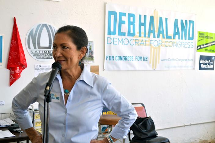 Debra Haaland, a Democratic candidate for Congress, speaks at her Albuquerque, N.M., headquarters in June 2018, as volunteers seek last-minute voters for the Democratic nomination for an open congressional seat in central New Mexico.
