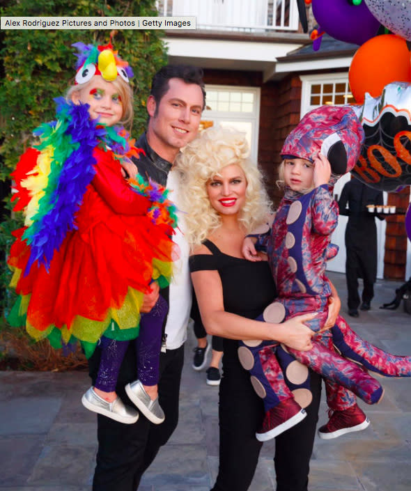 """<p>Jessica and family had chills that were multiplying on Halloween. Well, she and Eric took a page out of <em>Grease</em>, but their wee ones had ideas of their own. Maxi was a parrot and Ace was an octopus. For the record, this is as big as the onetime reality star's family will get. She has said she's done having kids after going the back-to-back route — and working her rear off to shed the baby weight. (Photo: Jessica Simpson via <a rel=""""nofollow"""" href=""""https://www.instagram.com/p/BMSPo6WDZmr/"""">Instagram</a>) </p>"""