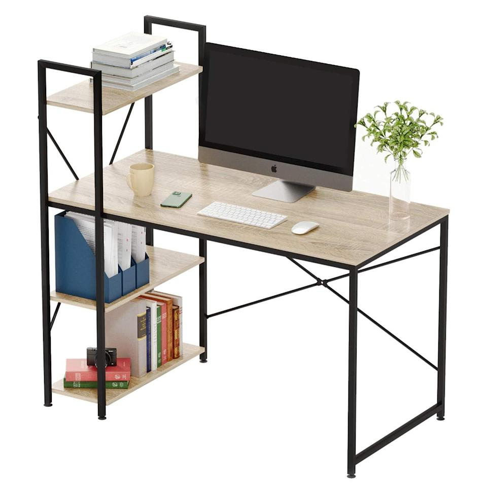 "<h2>Computer Desk with Storage Shelves</h2><br><br><strong>Bestier</strong> Bestier Computer Desk with Shelves, $, available at <a href=""https://amzn.to/2ImROcZ"" rel=""nofollow noopener"" target=""_blank"" data-ylk=""slk:Amazon"" class=""link rapid-noclick-resp"">Amazon</a>"