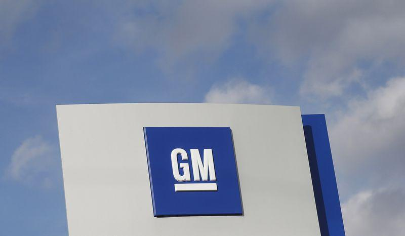 The GM logo is seen at the General Motors Warren Transmission Operations Plant in Warren, Michigan