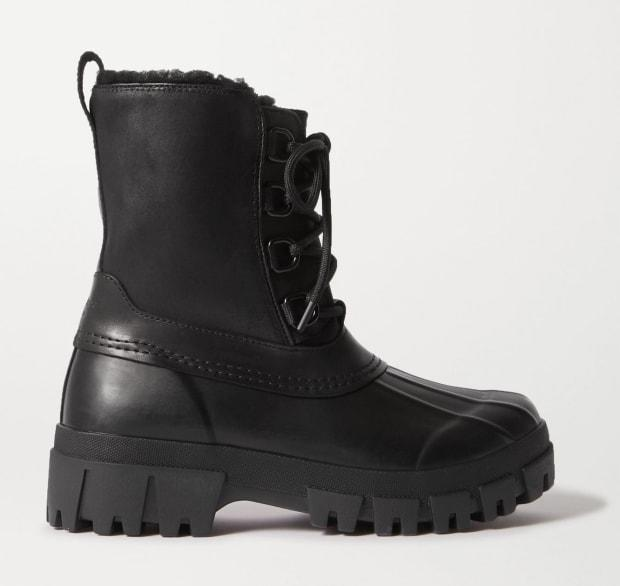 """<p>Rag & Bone Rb Winter Shearling-Lined Leather and Rubber Ankle Boots, $149 (from $495), <a href=""""https://rstyle.me/+tZD_fC2w2gdo9gYfuoMupA"""" rel=""""nofollow noopener"""" target=""""_blank"""" data-ylk=""""slk:available here"""" class=""""link rapid-noclick-resp"""">available here</a>. </p>"""