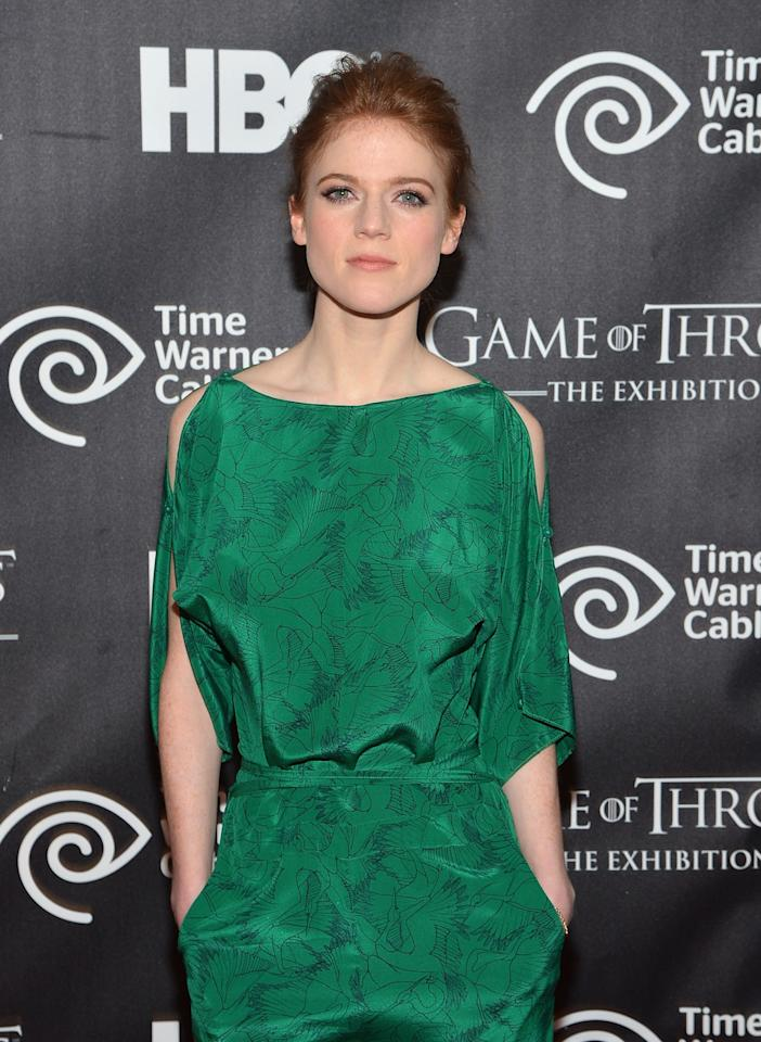 "NEW YORK, NY - MARCH 27:  Actress Rose Leslie attends ""Game Of Thrones"" The Exhibition New York Opening at 3 West 57th Avenue on March 27, 2013 in New York City.  (Photo by Mike Coppola/Getty Images)"