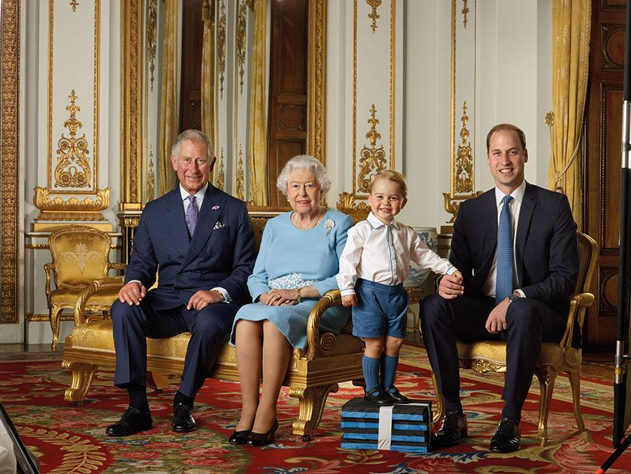 <p>Prince George stole the show with his matching socks and shorts in this royal portrait alongside Queen Elizabeth II, Prince Charles and Prince William. [Photo: Getty] </p>