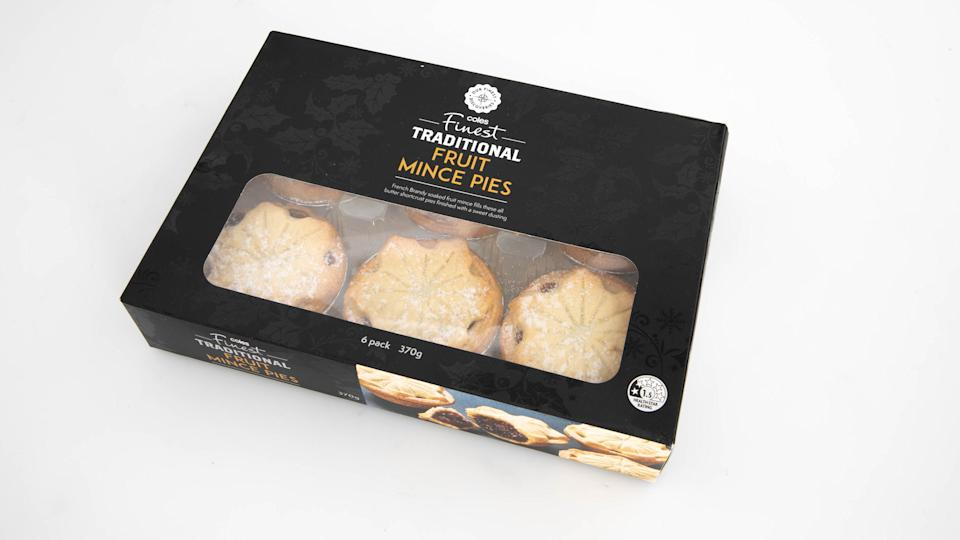 Coles Finest Traditional Fruit Mince Pies. Photo: Supplied
