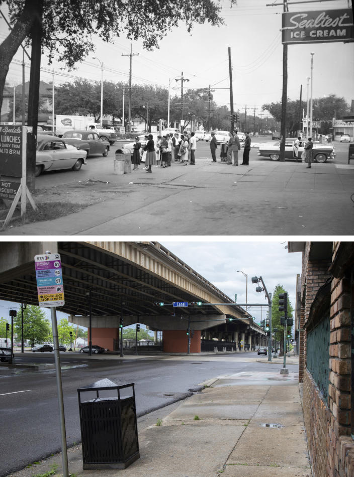 This photo combination shows people gathering on the corner of Claiborne Avenue and Canal Street in New Orleans on Nov. 1, 1956, top, and the same location on May 11, 2021, bottom, where an elevated expressway built in the late 1960s now runs along Claiborne Ave. (City Archives & Special Collections, New Orleans Public Library, top, and Rebecca Santana, bottom, via AP)