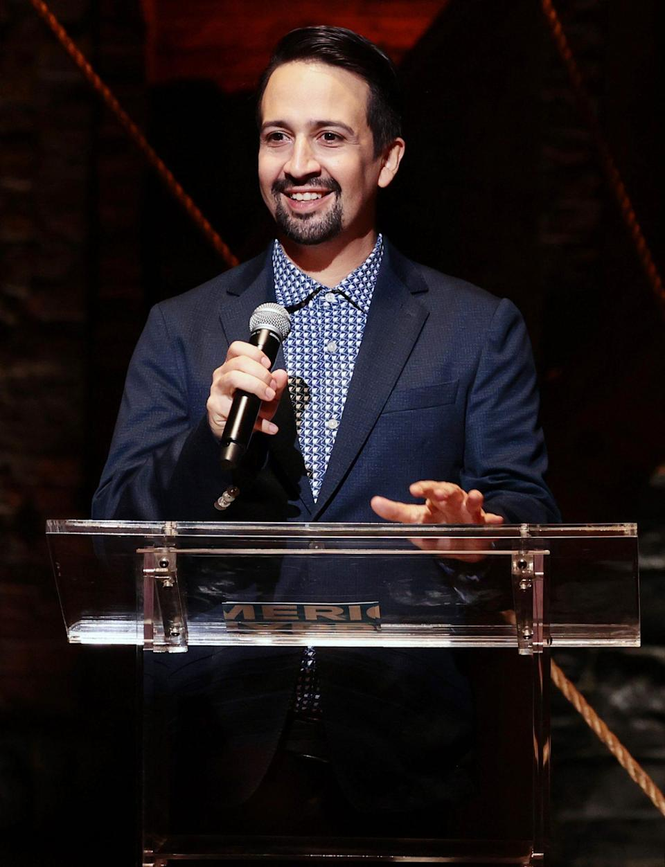 <p>Lin-Manuel Miranda celebrates the launch of Code (RED) and the return of Broadway at the Richard Rodgers Theatre on Oct. 13 in N.Y.C.</p>