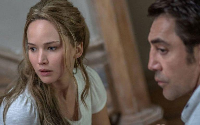 Jennifer Lawrence and Javier Bardem in Darren Aronofsky's Mother!
