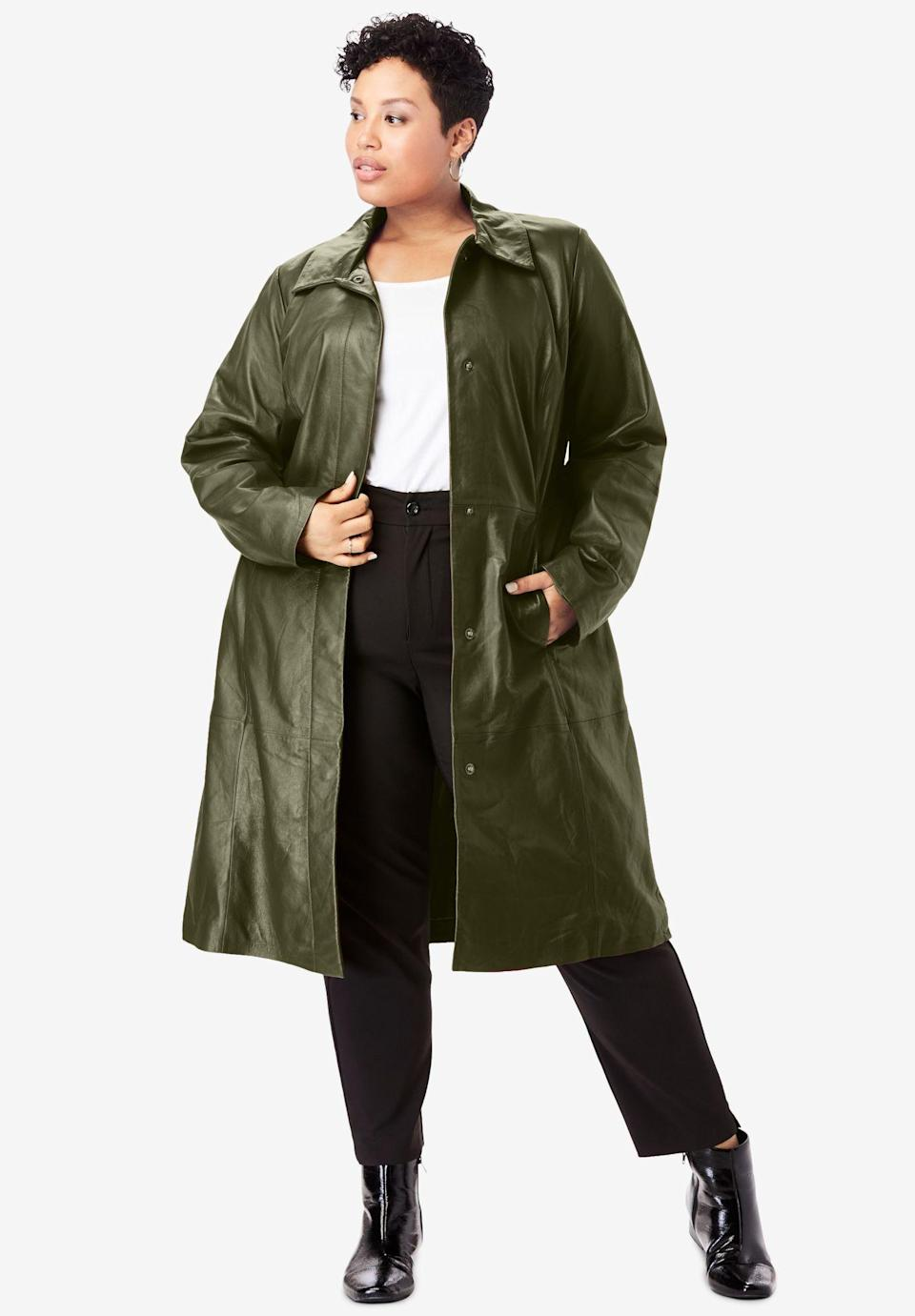 """<p><strong>Jessica London</strong></p><p>fullbeauty.com</p><p><strong>$319.99</strong></p><p><a href=""""https://go.redirectingat.com?id=74968X1596630&url=https%3A%2F%2Fwww.fullbeauty.com%2Fproducts%2Ftrench-coat%2F1033099.html%23cartCookie%3Dfalse%26sz%3D60%26start%3D1%26isRedirect%3Dtrue%26cgid%3DFBB_Womens_Coats_And_Jackets&sref=https%3A%2F%2Fwww.oprahmag.com%2Fstyle%2Fg33266496%2Fplus-size-coats%2F"""" rel=""""nofollow noopener"""" target=""""_blank"""" data-ylk=""""slk:SHOP NOW"""" class=""""link rapid-noclick-resp"""">SHOP NOW</a></p><p>One of the biggest trends this season? Leather—and this olive green trench is the perfect way to incorporate it into your wardrobe. To avoid <em>Matrix </em>vibes, opt for a colored leather, rather than black.</p>"""