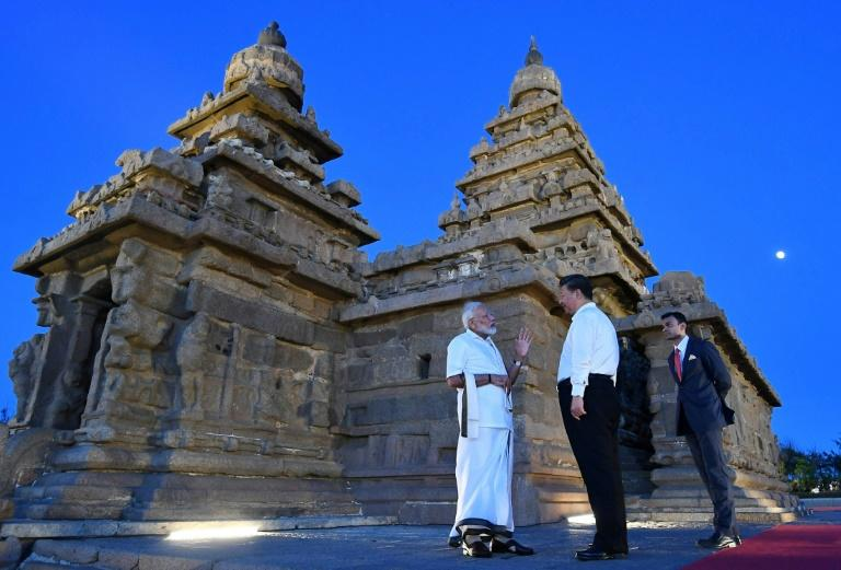 The summit was held in the southern Indian town of Mahabalipuram, home to a group of 7th and 8th century monuments and carvings which are a UNESCO World Heritage site (AFP Photo/Handout)