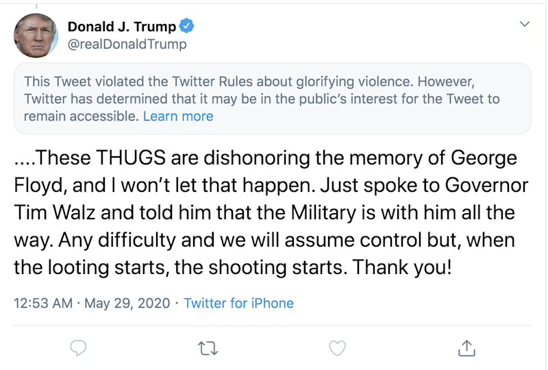 A screen grab of a Twitter notice on a tweet by President Trump on Friday, May 29, 2020.