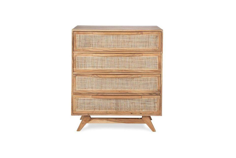 """<p><strong>Edloe Finch</strong></p><p>edloefinch.com</p><p><strong>$995.00</strong></p><p><a href=""""https://edloefinch.com/collections/bedroom-furniture/products/lyra-4-drawer-dresser"""" rel=""""nofollow noopener"""" target=""""_blank"""" data-ylk=""""slk:Shop Now"""" class=""""link rapid-noclick-resp"""">Shop Now</a></p><p>Okay, yes, I <em>know </em>$995 isn't just loose change for anyone. But, hear me out: This stunning dresser usually goes for $1300 and it's on super sale RTFN. And if you're asking me, the wise move would be to get this luxe piece of furniture NOW while it's under a grand. It's definitely a worthy investment!</p>"""