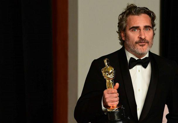 PHOTO: Actor Joaquin Phoenix poses in the press room with the Oscar for Best Actor for 'Joker' during the 92nd Oscars at the Dolby Theater in Hollywood, Calif., Feb. 9, 2020. (Frederic J. Brown/AFP via Getty Images)