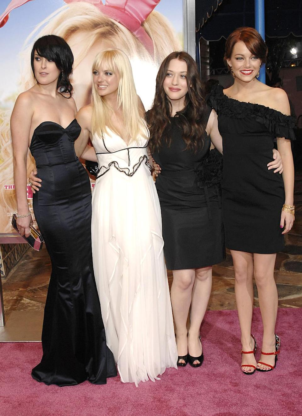 <p>In 2008, Stone stars as a sorority girl alongside Rumer Willis, Anna Faris, and Kat Dennings in the comedy <em>House Bunny.</em> (Photo: Patrick McMullan/Getty Images) </p>