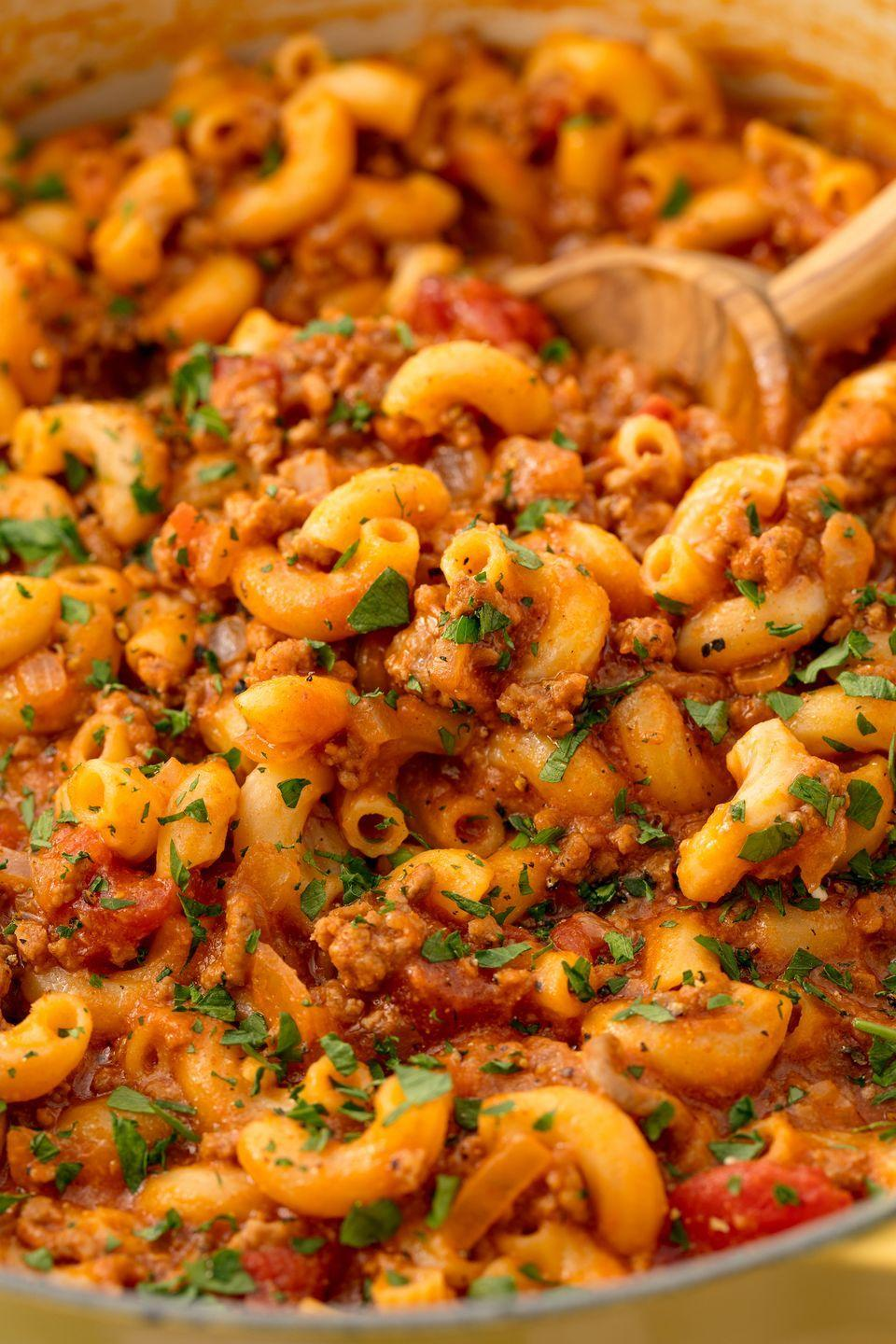 """<p>We love the fact that EVERYTHING in this recipe cooks in one skillet—the beef, the sauce, and the macaroni. Once you cook pasta this way, you'll never go back to boiling water again. </p><p>Get the <a href=""""https://www.delish.com/uk/cooking/recipes/a29496617/best-goulash-recipe/"""" rel=""""nofollow noopener"""" target=""""_blank"""" data-ylk=""""slk:Goulash"""" class=""""link rapid-noclick-resp"""">Goulash</a> recipe. </p>"""