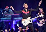 """<p>Frontman Levine started off wearing a coat, zip-up sweatshirt and jeans for his halftime performance.</p><p><a class=""""link rapid-noclick-resp"""" href=""""https://www.youtube.com/watch?v=zIwkhEqVq4s&ab_channel=NFL"""" rel=""""nofollow noopener"""" target=""""_blank"""" data-ylk=""""slk:WATCH NOW"""">WATCH NOW</a></p>"""
