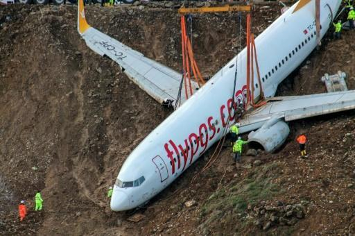 <p>Stricken Turkish plane lifted from cliff after runway mishap</p>