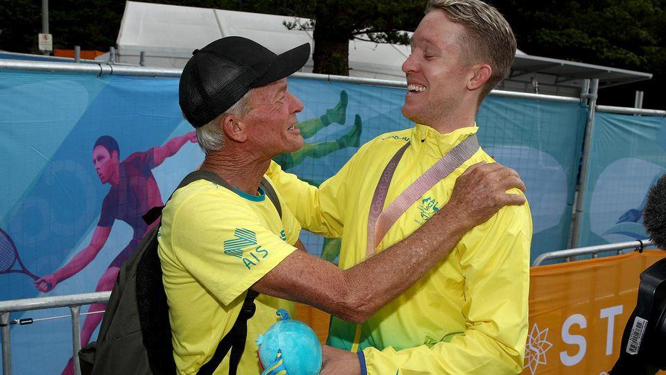 Gold medal winner Meyer and his very proud dad. Pic: Getty