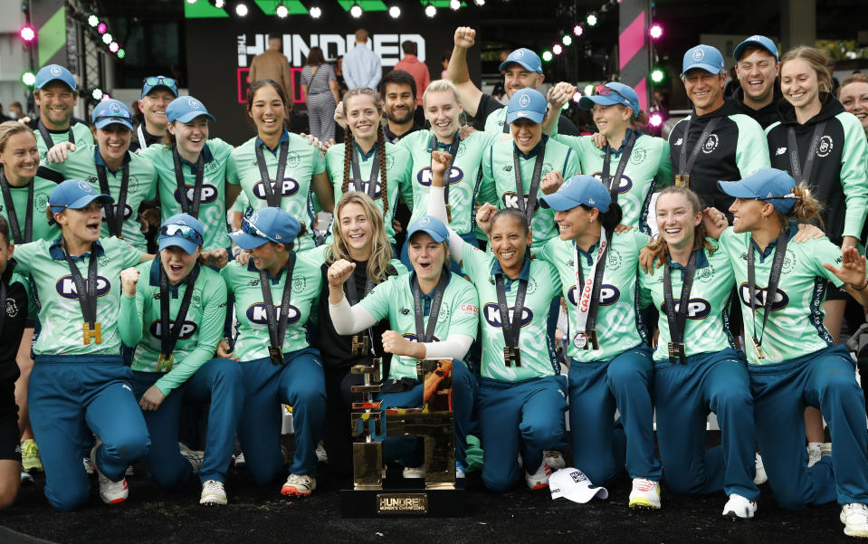 Oval Invincibles celebrate their win after defeating Southern Brave by 48 runs in the Hundred Women's final at Lord's