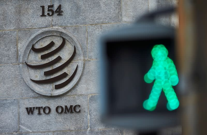 FILE PHOTO: A logo is pictured in front of the World Trade Organization (WTO) in Geneva