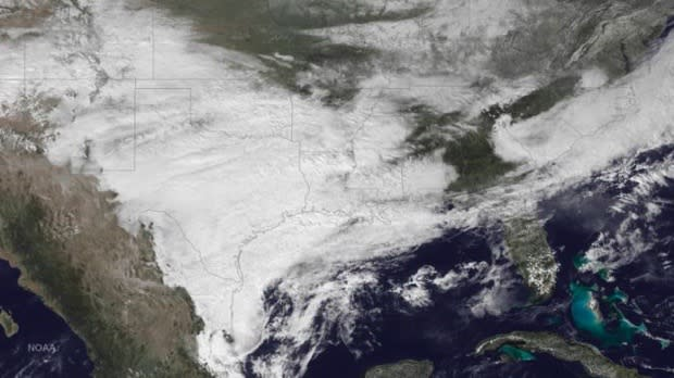 The weather system bringing winter weather to parts of the western and southern U.S. is seen in a NOAA GOES East satellite image taken at 2:45pm ET (19:45GMT) February 23, 2015. An ice storm that hit wide parts of Texas and neighboring states on Monday knocked out power to thousands of people, led to hundreds of traffic accidents and caused nearly 1,500 flight cancellations nationwide.   REUTERS/NOAA/Handout via Reuters  (UNITED STATES - Tags: SCIENCE TECHNOLOGY ENVIRONMENT) FOR EDITORIAL USE ONLY. NOT FOR SALE FOR MARKETING OR ADVERTISING CAMPAIGNS. THIS IMAGE HAS BEEN SUPPLIED BY A THIRD PARTY. IT IS DISTRIBUTED, EXACTLY AS RECEIVED BY REUTERS, AS A SERVICE TO CLIENTS - TM3EB2N18I101