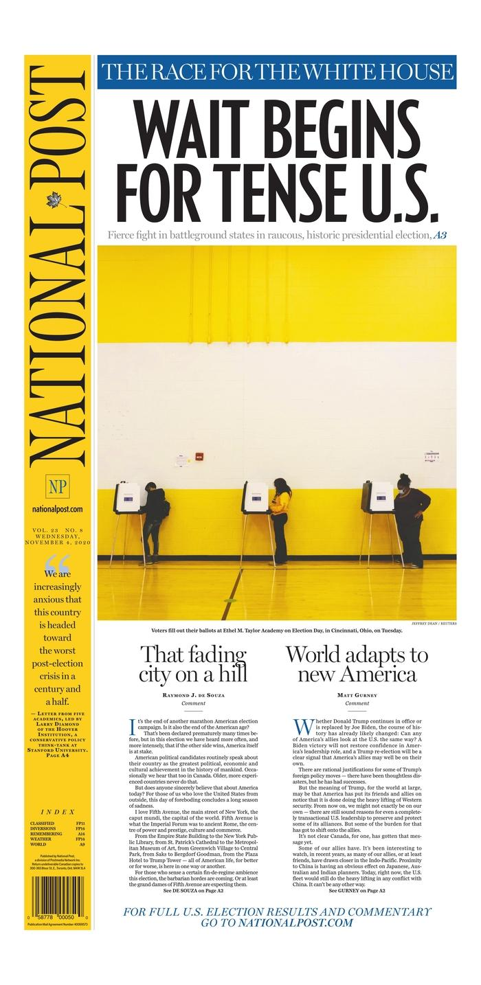 "NATIONAL POST, Published in Toronto, Canada (Courtesy <a href=""https://www.newseum.org/todaysfrontpages/"" rel=""nofollow noopener"" target=""_blank"" data-ylk=""slk:Newseum"" class=""link rapid-noclick-resp"">Newseum</a>)"