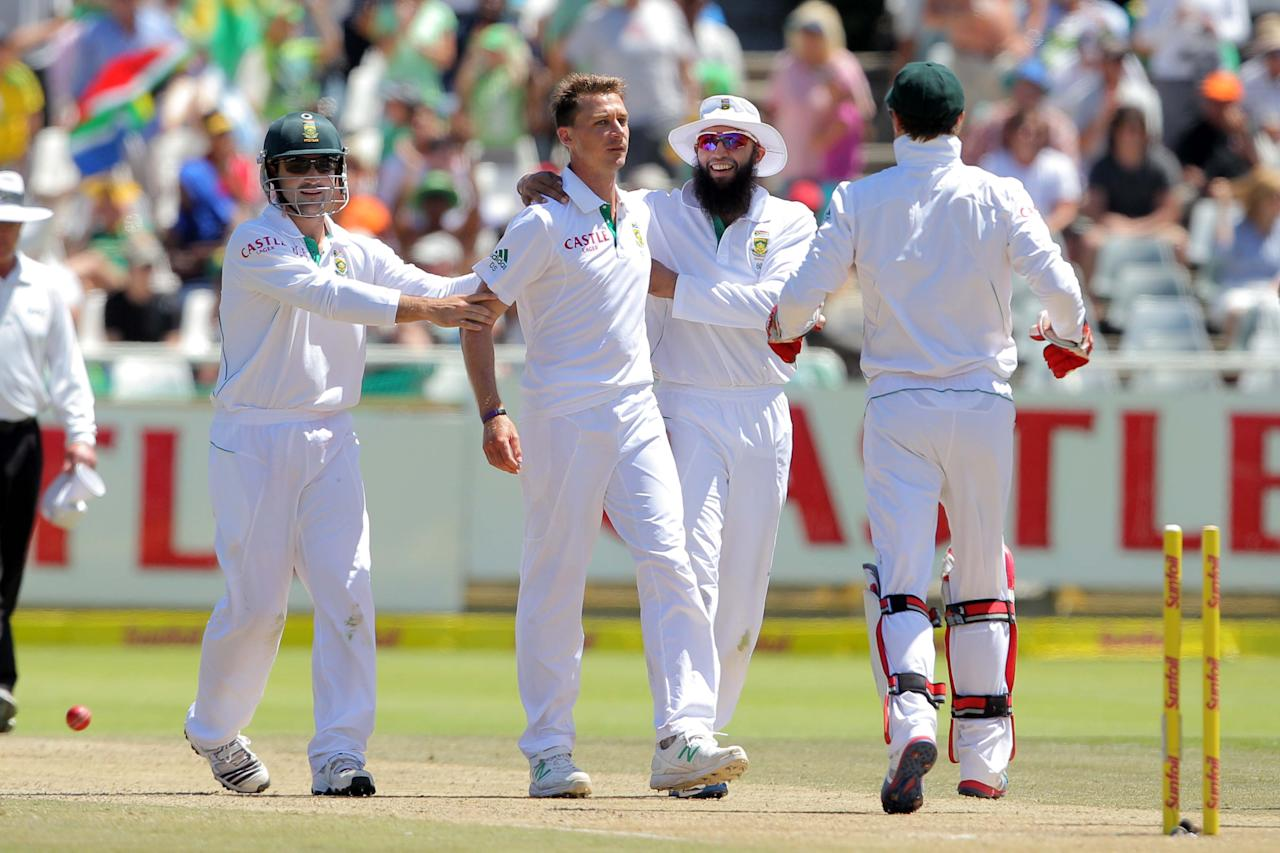 CAPE TOWN, SOUTH AFRICA - JANUARY 04: Dale Steyn celebrates another wicket during day 3 of the 1st Test between South Africa and New Zealand at Sahara Park Newlands on January 04, 2013 in Cape Town, South Africa.  (Photo by Carl Fourie/Gallo Images)