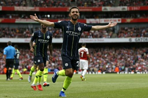 Manchester City's Bernardo Silva celebrates after scoring the second goal at Arsenal