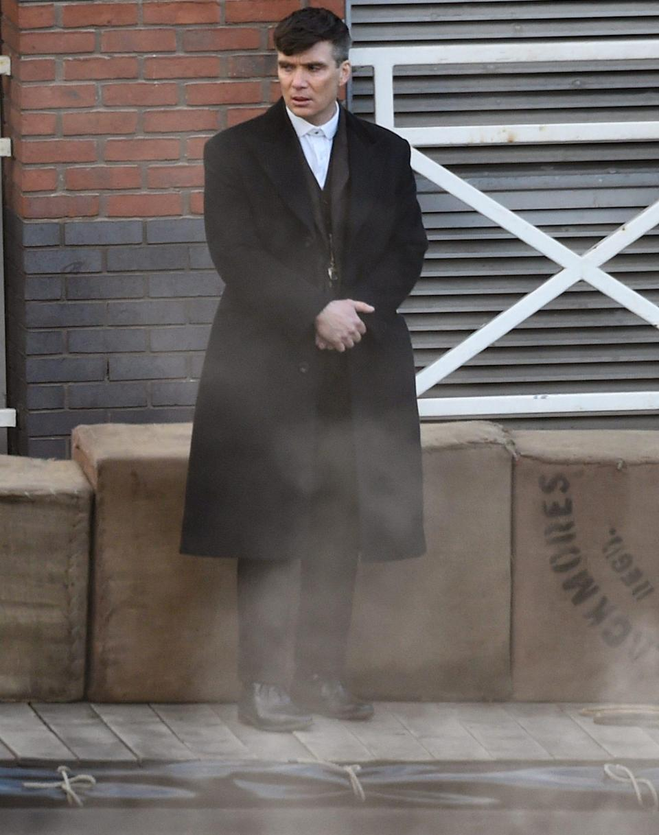<p>Cillian Murphy films scenes for the final season of <em>Peaky Blinders</em> in Manchester on Wednesday.</p>