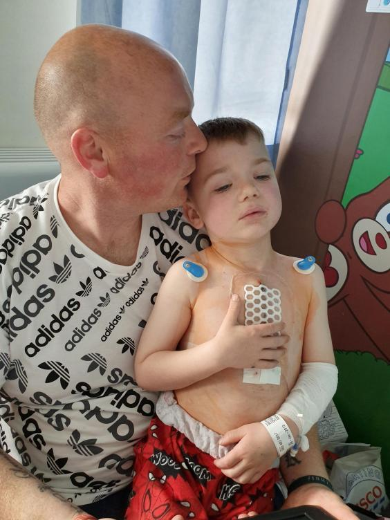 Martin and Leanne Watts found out about Joey's heart defect 28 weeks into Mrs Watt's pregnancy (SWNS)
