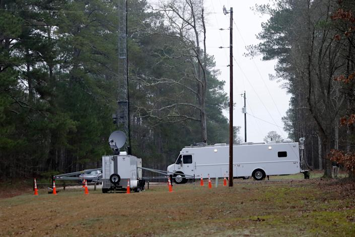 A command center at Hard Labor Creek State Park is shown Wednesday, March 11, 2020, in Rutledge, Ga. The state is using the park to locate emergency mobile units to quarantine people who may have been exposed to the coronavirus. One person who tested positive for the virus is being isolated at the park according to a statement from Gov. Brian Kemp.