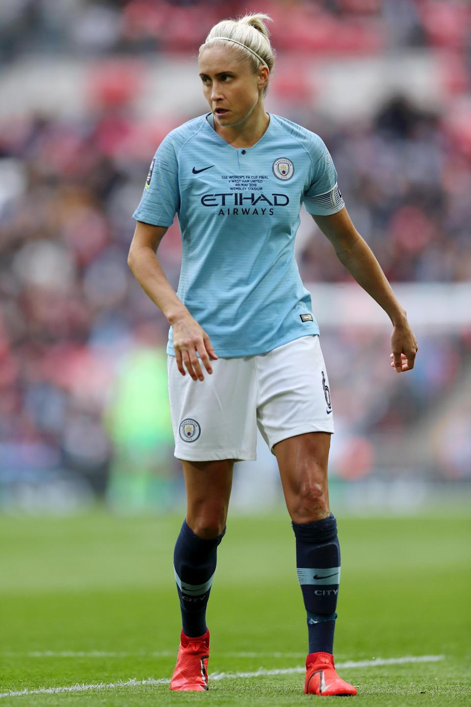 Steph Houghton of Manchester City Women looks on during the Women's FA Cup Final match between Manchester City Women and West Ham United Ladies at Wembley Stadium in London, 2019 (Photo:Naomi Baker/Getty Images)