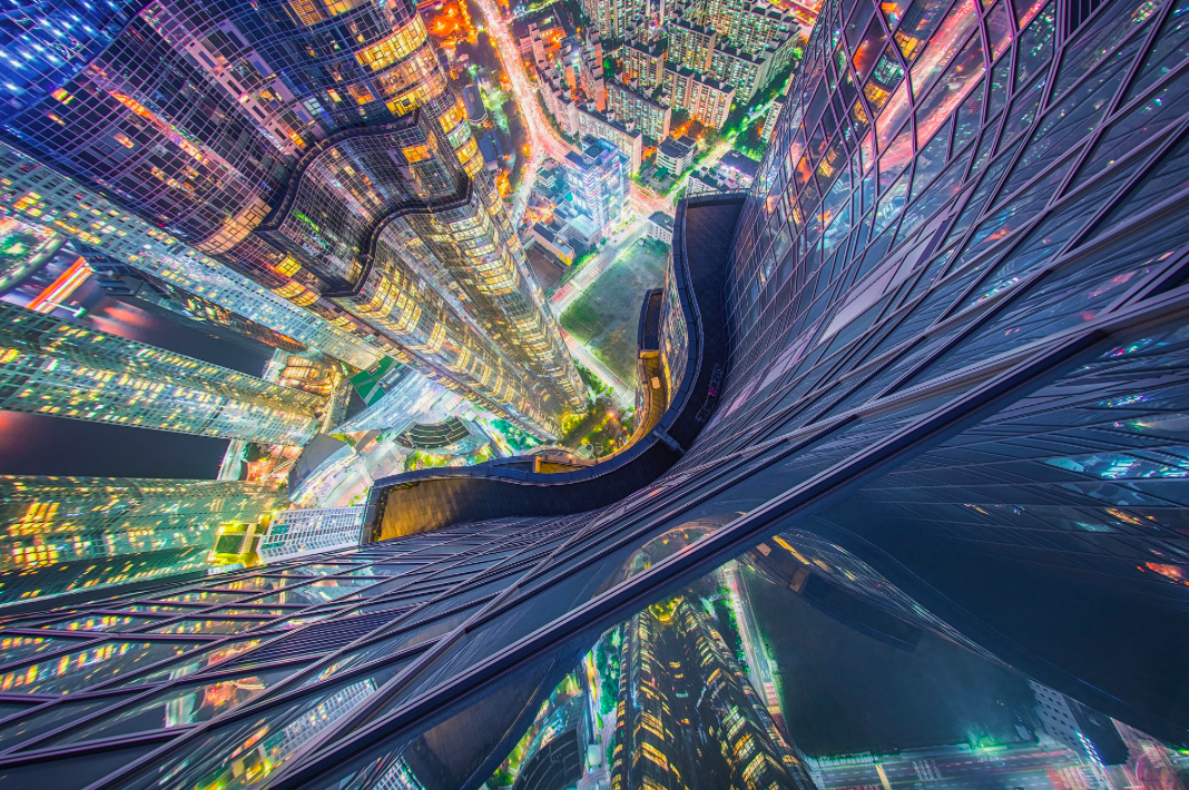 <p>Taken from the highest residential building in Asia – the Zenith in Busan – the photographer had to hang over the edge to capture this incredible view. (Pic: Albert Dros) </p>
