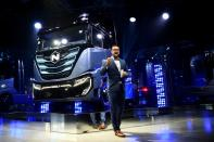 FILE PHOTO: CEO and founder of U.S. Nikola Trevor Milton speaks during presentation of its new full-electric and hydrogen fuel-cell battery trucks in partnership with CNH Industrial, at an event in Turin