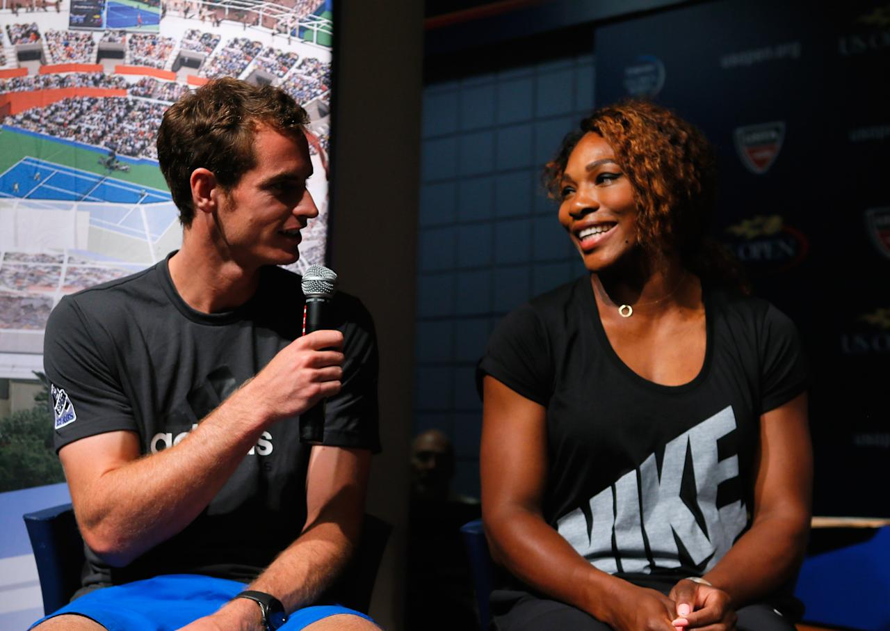 NEW YORK, NY - AUGUST 22: Serena Williams (R) of the United States and Andy Murray (L) of Great Britain are interviewed during the Draw Ceremony prior to the start of the 2013 US Open at the USTA Billie Jean King National Tennis Center on August 22, 2013 in New York City. (Photo by Mike Stobe/Getty Images for the USTA)