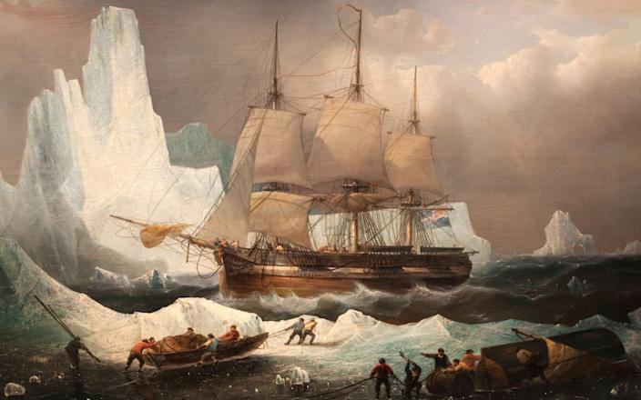 Painting of HMS Erebus in the Ice by Francois Etienne Musin from the National Maritime Museum - Steve Vidler / Alamy