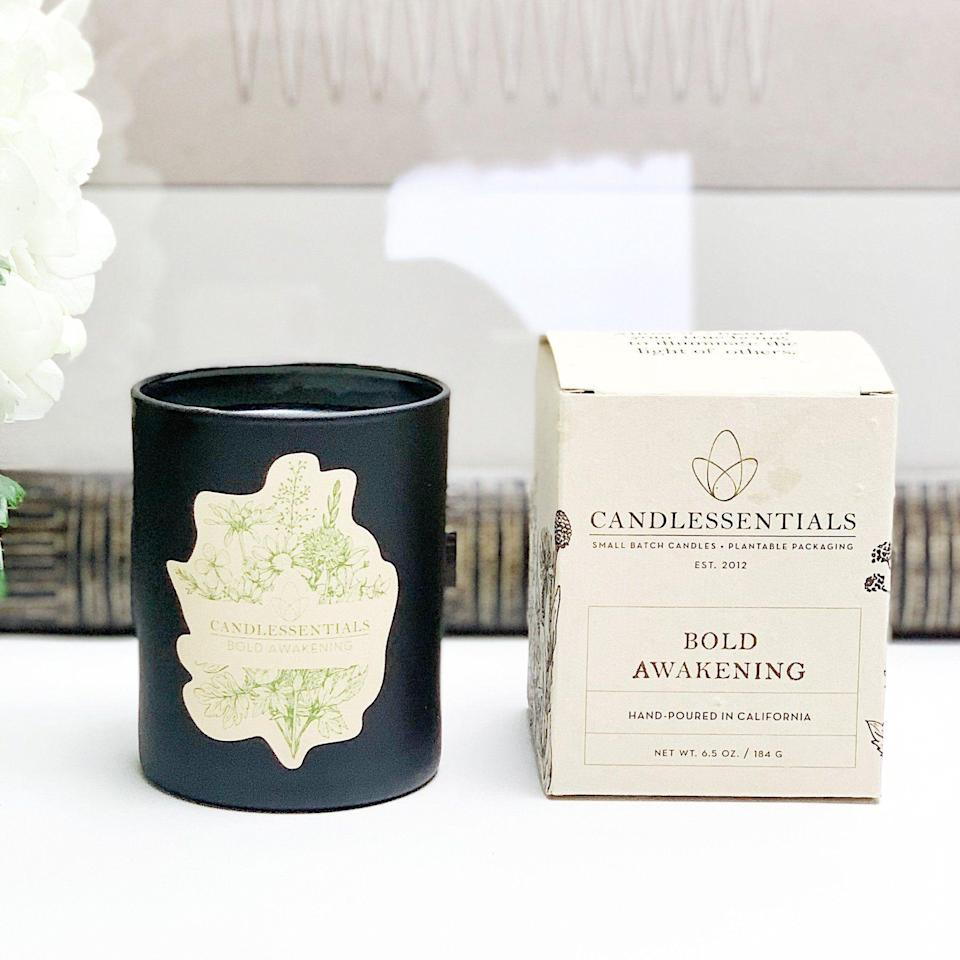 """<p><strong>Candlessentials</strong></p><p>candlessentials.com</p><p><strong>$32.00</strong></p><p><a href=""""https://www.candlessentials.com/collections/shop/products/bold-awakening"""" rel=""""nofollow noopener"""" target=""""_blank"""" data-ylk=""""slk:Shop Now"""" class=""""link rapid-noclick-resp"""">Shop Now</a></p><p>Looking for a go-to fall candle? Bold Awakening from Candlessentials is the winner. She's made up of crisp green apple, tart red currant, and citrusy orange smells that'll make the vibe of your home feel super warm and cozy.</p>"""