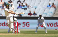 Australia's Marnus Labuschagne bats during play on day one of the Boxing Day cricket test between India and Australia at the Melbourne Cricket Ground, Melbourne, Australia, Saturday, Dec. 26, 2020. (AP Photo/Asanka Brendon Ratnayake)
