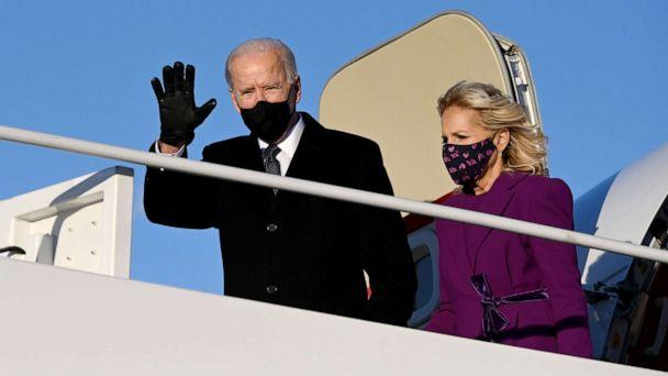 PHOTO: President-elect Joe Biden and incoming First Lady Jill Biden arrive at Joint Base Andrews in Maryland on Jan. 19, 2021. (Jim Watson/AFP via Getty Images)