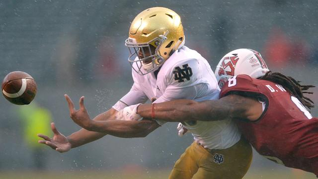 Who does Brian Kelly blame for Notre Dame's loss to N.C. State on Saturday, himself or his center? Depends on which story you're reading.