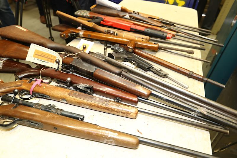 Weapons surrendered to Australian authorities during a 2017 gun amnesty program. (Robert Cianflone via Getty Images)