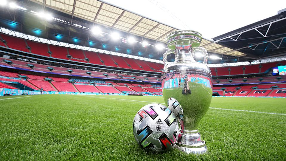 The Henri Delaunay Trophy, pictured here with the official match ball ahead of the Euro 2020 final at Wembley Stadium.